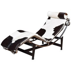 Charles Le Corbusier Inspired LC4 Black and White Pony Recliner