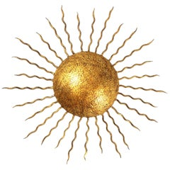 Large Hand-Hammered Gilt Iron Sunburst Flush Mount or Wall Light, Spain 1950s