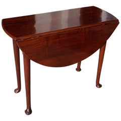 English Queen Anne Cuban Mahogany Drop-Leaf Occasional Table, Circa 1740