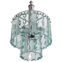 Fontana Arte Style Two-Tier Glass Chandelier