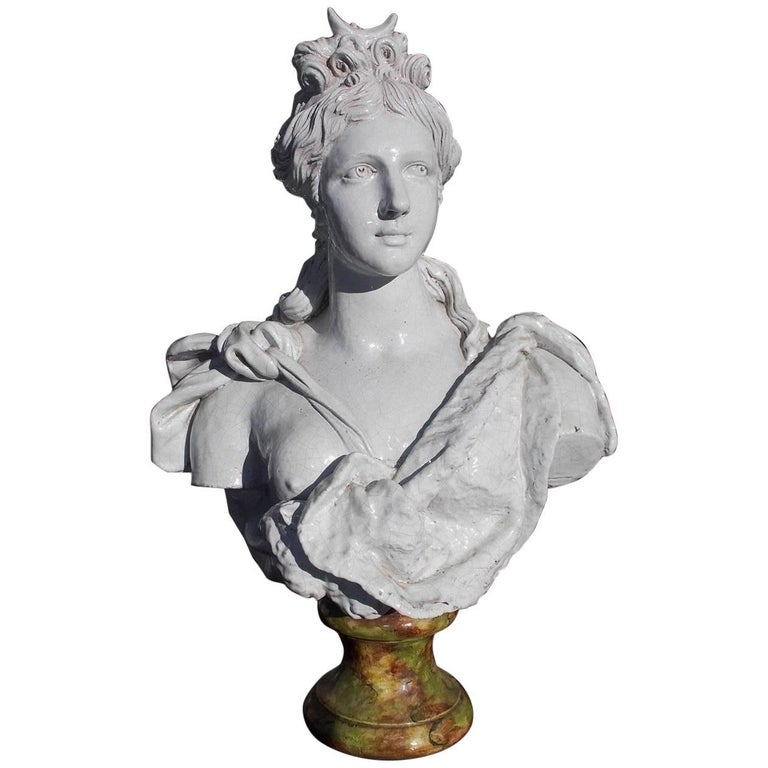 Italian Glazed Terracotta Figural Bust of Diana, Goddess of the Moon, Circa 1850