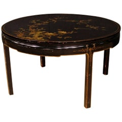 French Black Centre Table in Lacquered and Painted Chinoiserie Wood 20th Century