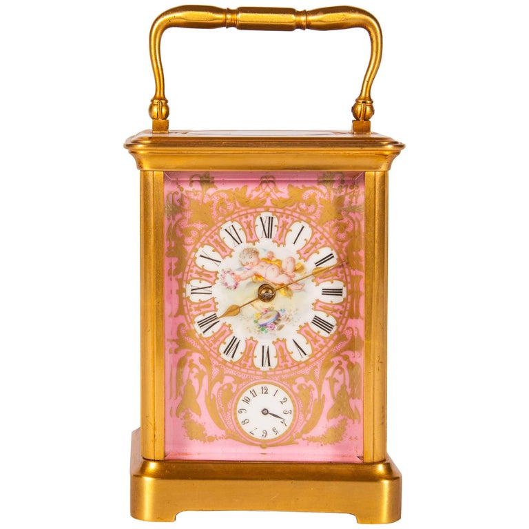 Rococo Style Sevres Style Porcelain and Ormolu Carriage Clock For Sale