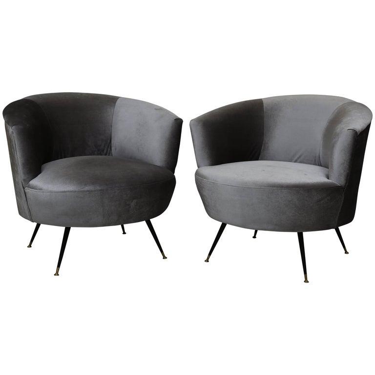Mid Century Modern Barrel Chairs In Kravet Velvet For