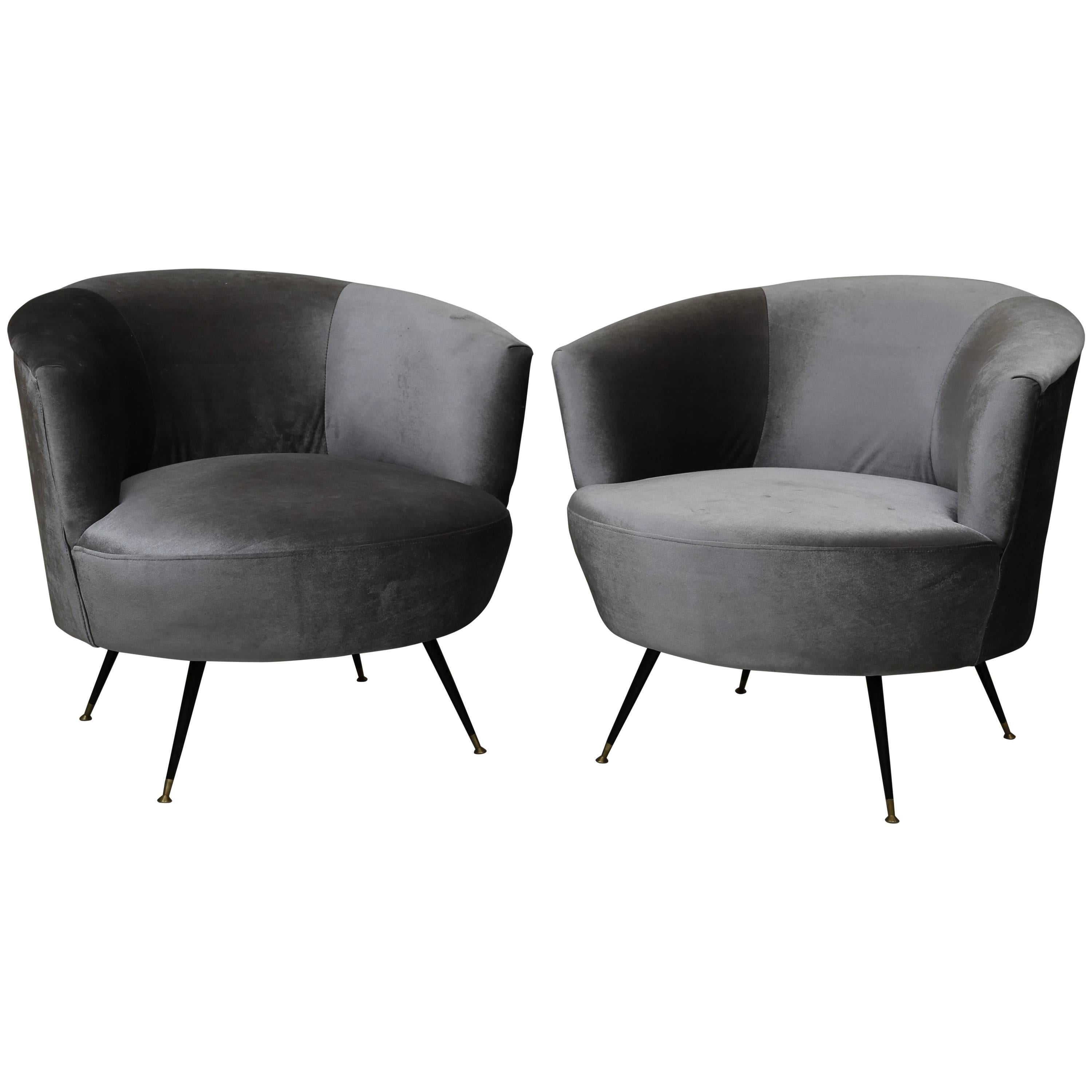 Attrayant Mid Century Modern Barrel Chairs In Kravet Velvet For Sale