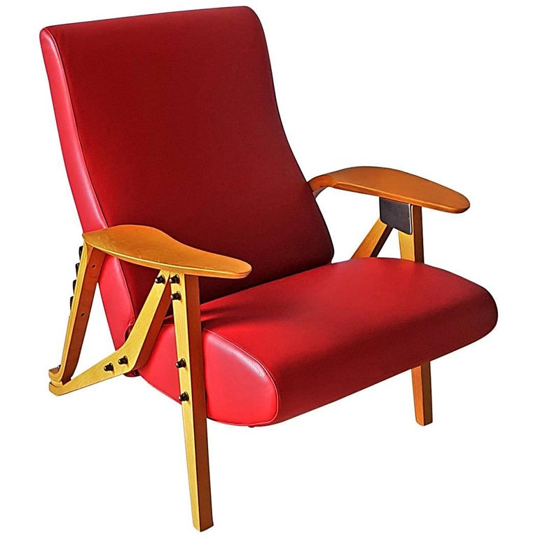 Armchair by Mollino, Zanotta in Red Leather and Wood, Mid-Century Modern Style