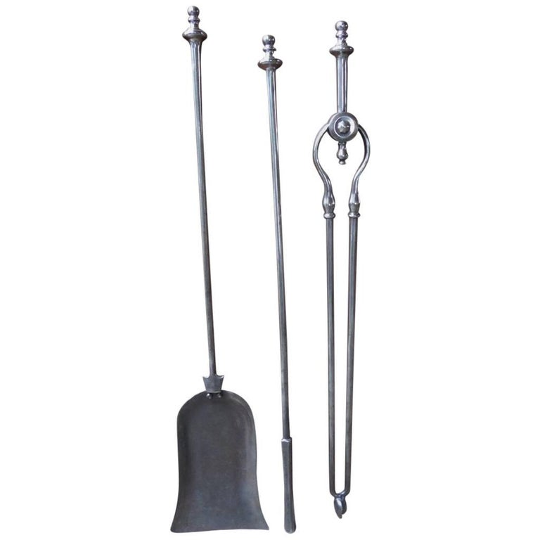 19th Century English Fireplace Tools or Fire Tools For Sale