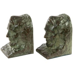 Cast Bronze Bookends of Abraham Lincoln After Gutzon Borglum