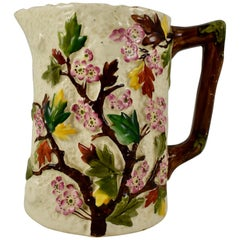 English Staffordshire Dogwood Flower on Bark Earthenware Pitcher, 19th Century