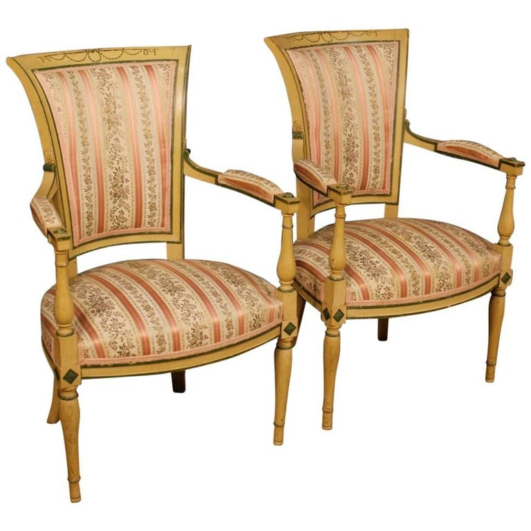 Pair of French Armchairs in Lacquered and Painted Wood from 20th Century