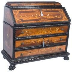 Antique Italian Renaissance Revival Fruitwood Marquetry Bureau, 18th Century
