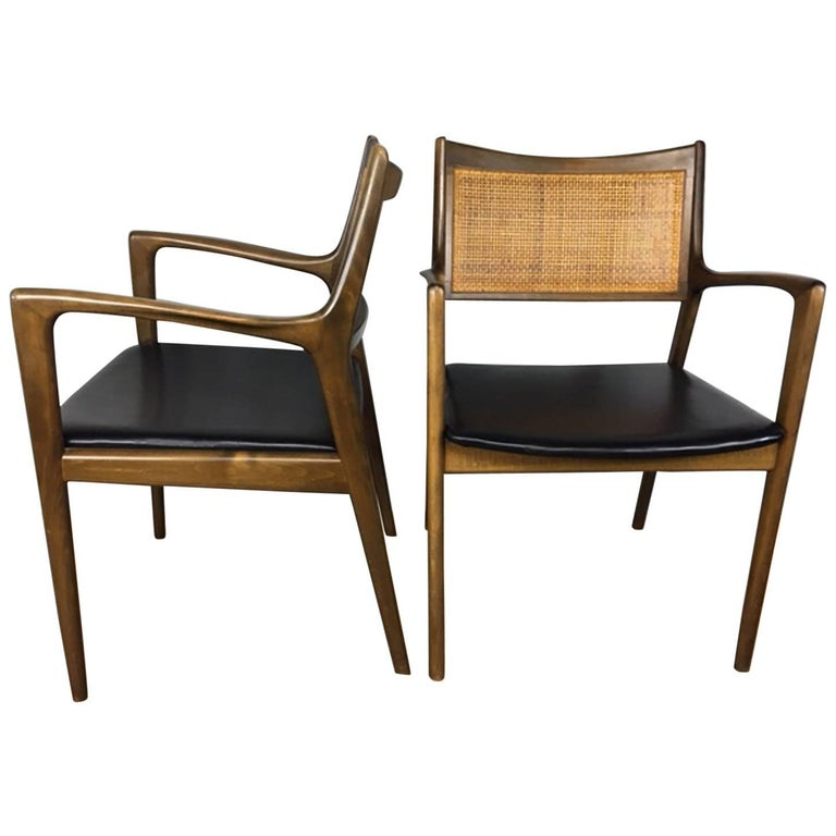 Erik Ekselius Cane Back and Leather Side or Dining Chairs