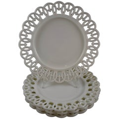 "19th Century EAPG Lace Edge American Milk Glass 9"" Plates, Set of Four"