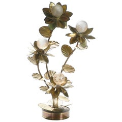 Maison Jansen Brass Flower Floor Lamp, 1970s