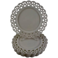 "19th Century EAPG Lace Edge American Milk Glass 8"" Plates, Set of Five"