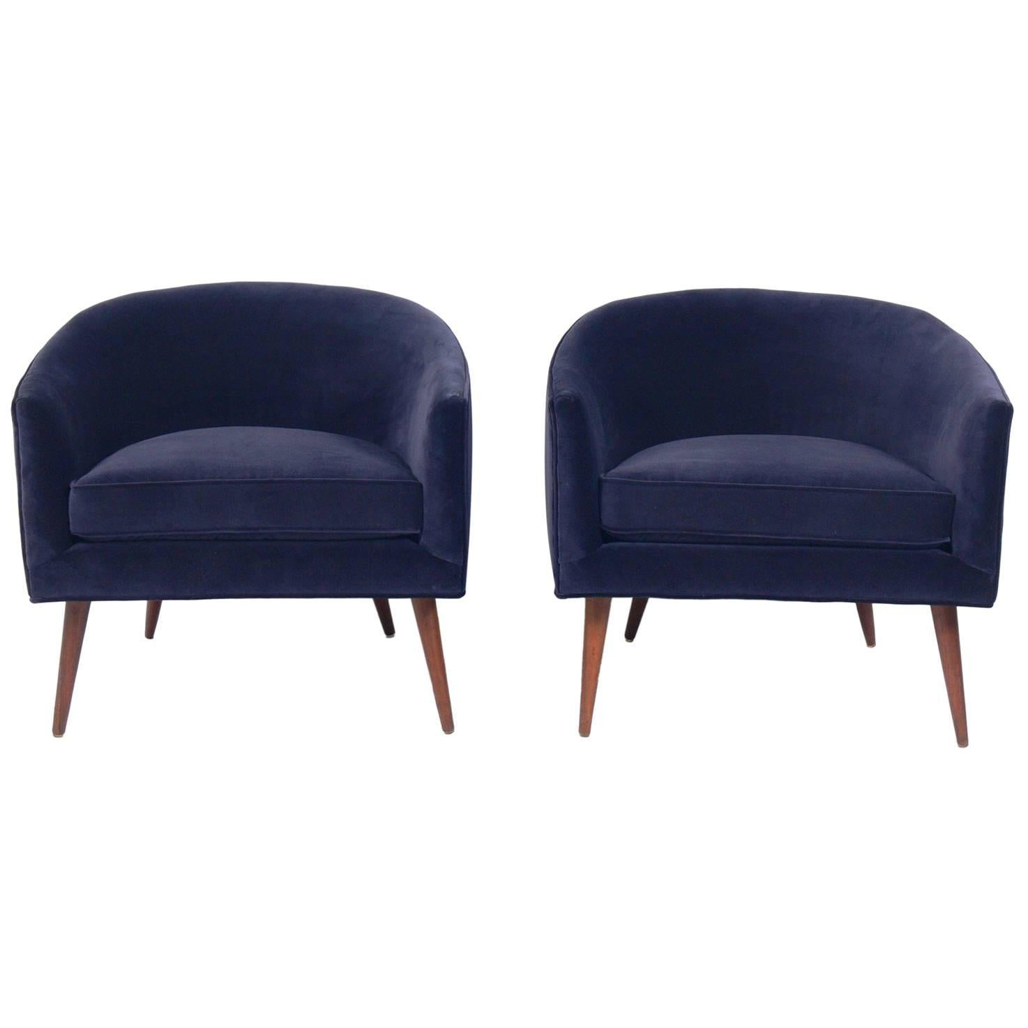 Pair of Curvaceous Midcentury Tub Chairs