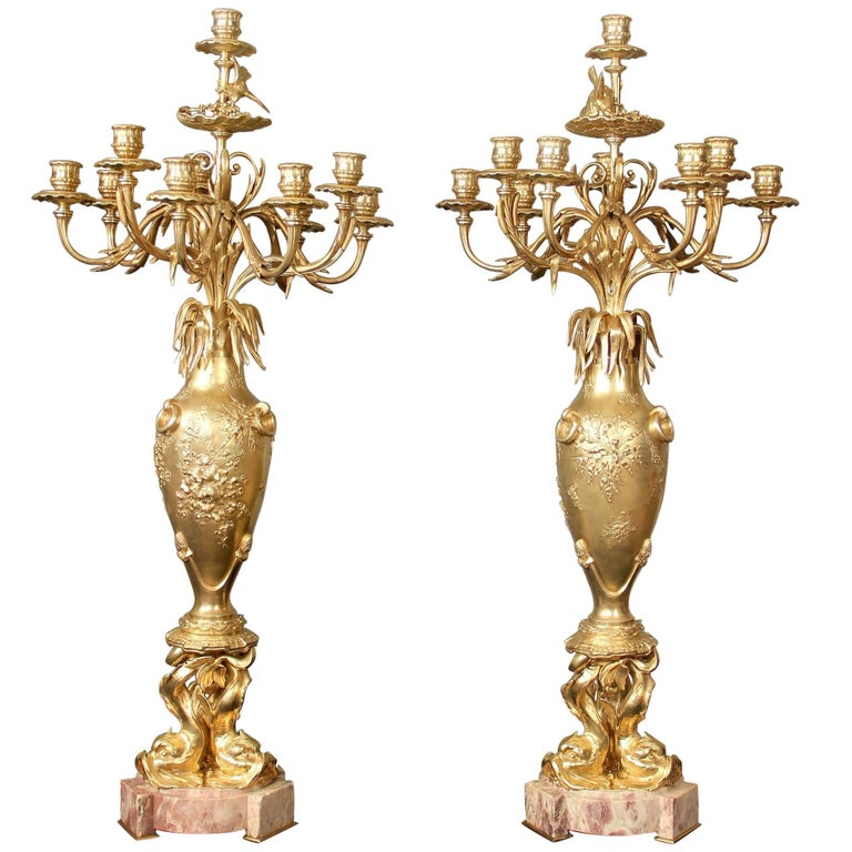 """Pair of 19th Century Gilt Bronze """"Japonisme"""" Candelabra by Maison Marnyhac"""