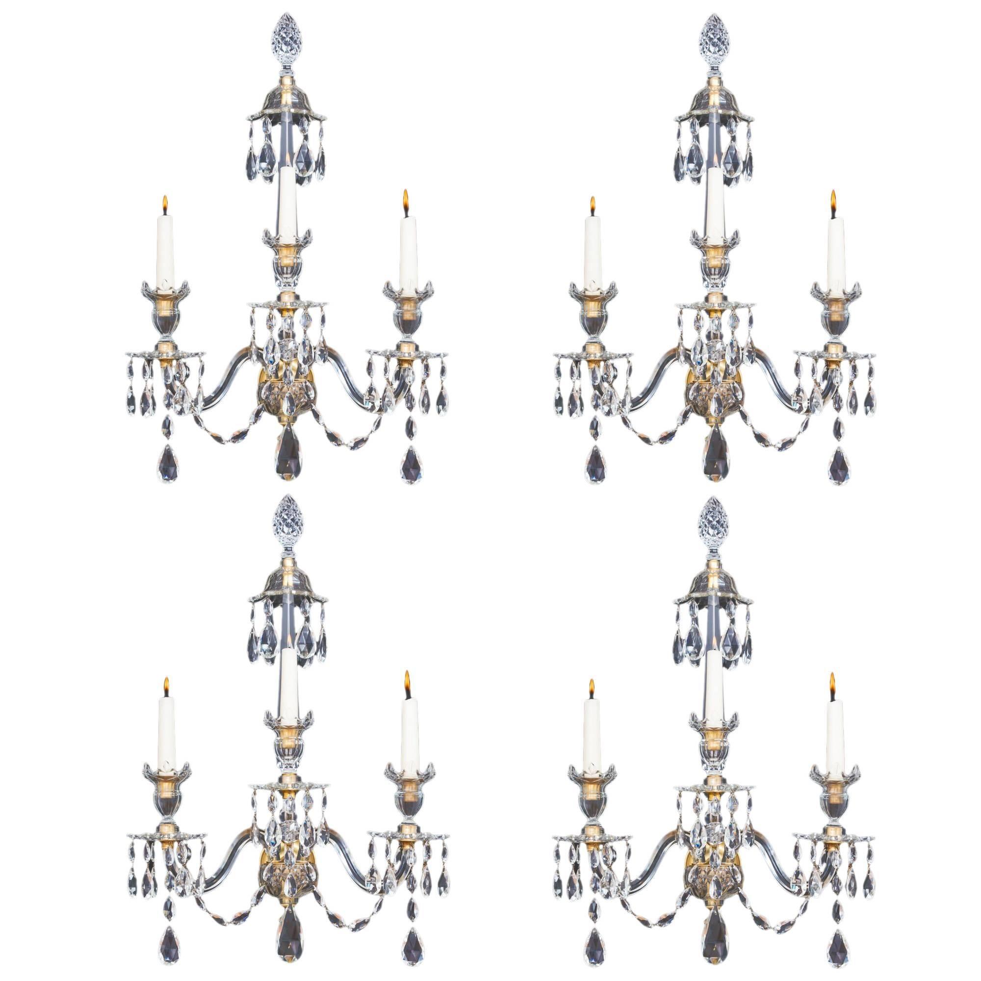 Set of Four Ormolu Mounted Cut Glass Wall Lights in Adam Style