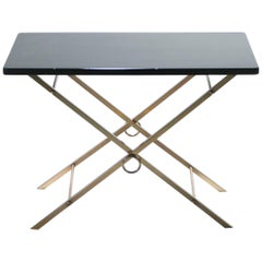 Lacquer and Brass Art Deco Side Table in the style of Jacques Adnet, 1960s