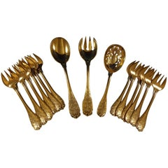 Elysee by Puiforcat French Sterling Silver Vermeil Gold Hors D'oeuvres Set 15 Pc