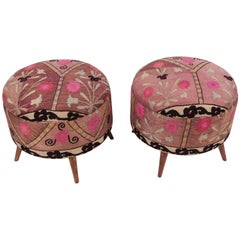 Ottoman or Poufs Fashioned from a Mid-20th Century Tashkent Silk Suzani