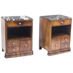 Antique Pair of French Art Deco Rosewood Bedside Chests Cabinets, 1930