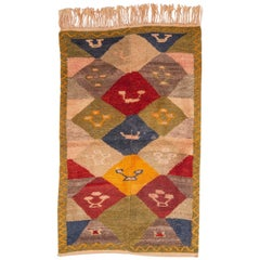 Mid-20th Century Central Anatolian Loop Technique Tulu Rug