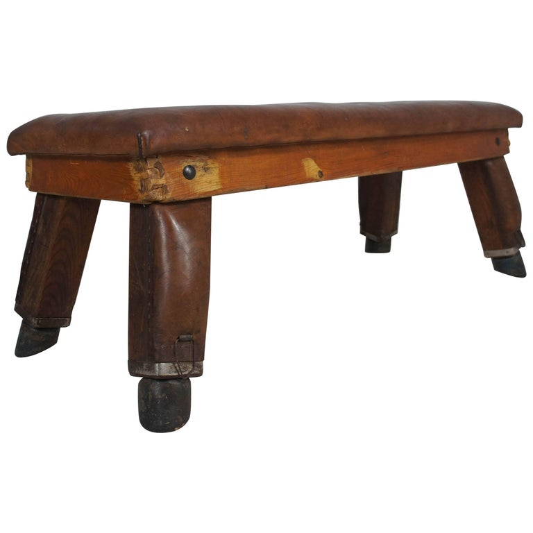 Midcentury Vintage Leather Gym Bench from Germany