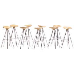 """""""Jamaica"""" Bar Stools by Pepe Cortés with Solid Beech Seats"""