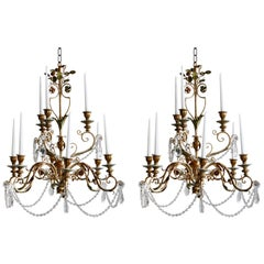 Pair of Late 1800s Italian Florentine Nine-Arm Candelabras