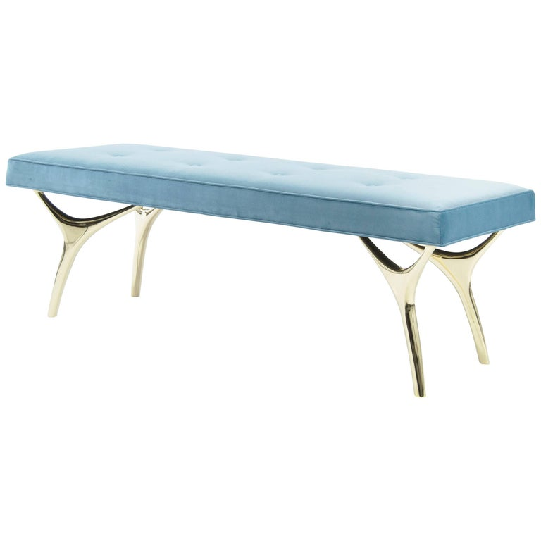 Stamford Modern's Crescent Bench in Brass and Velvet For Sale