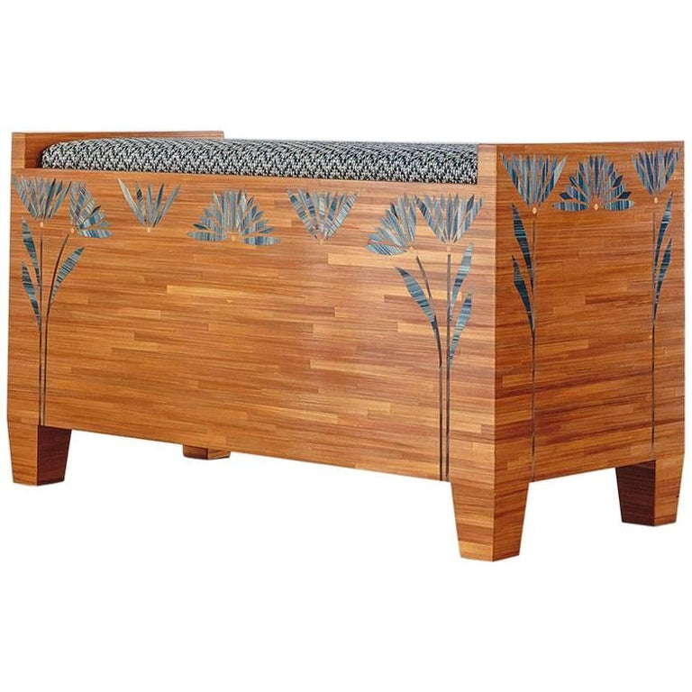 Bench with Straw Marquetry Detail and Upholstered Seat