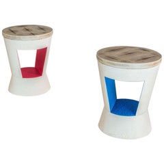 Set of Two Side Tables in Red, Blue and White