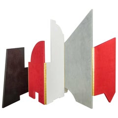 Radiant Folding Screen in Black, Red, White and Marble