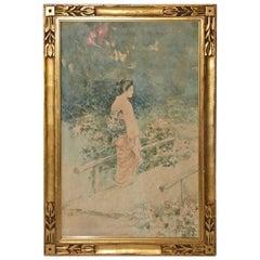 Vintage Japanese Watercolor in Gilt Frame