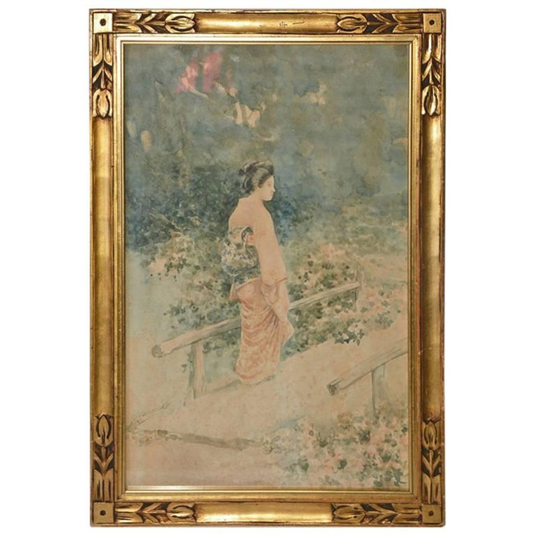 Vintage Japanese Watercolor in Gilt Frame For Sale