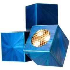 Marienbad Quadratische Nachttischleuchte in Blau