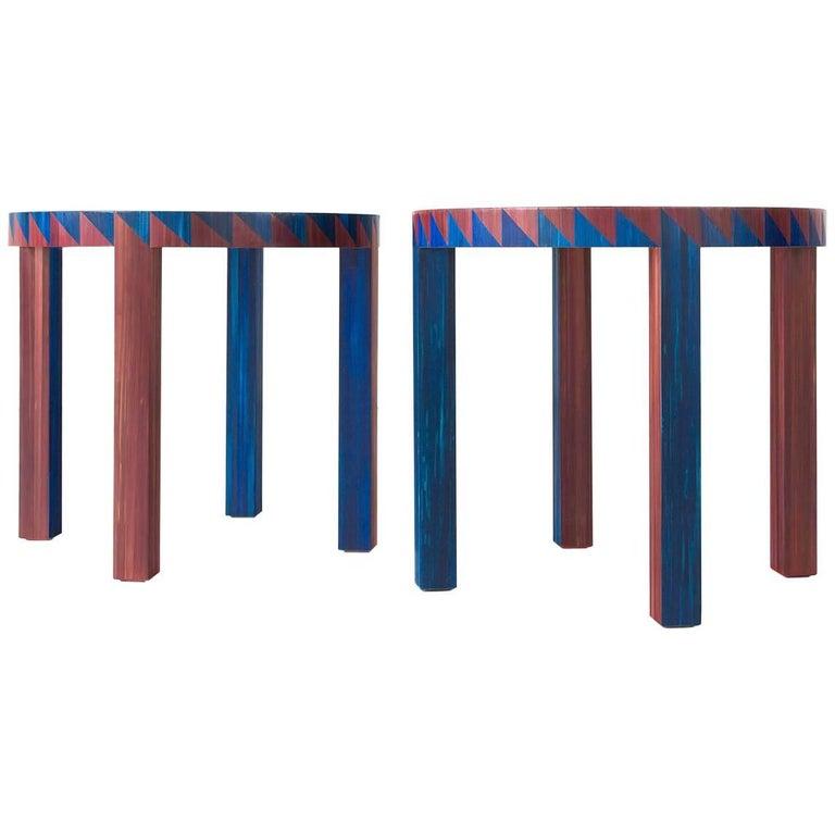 "Pair of Round Side ""Hélice"" Tables by Lison de Caunes For Sale"