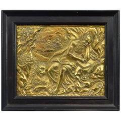 Gilt Copper Plate with Relief of St. Jerome in the Cave, 17th Century