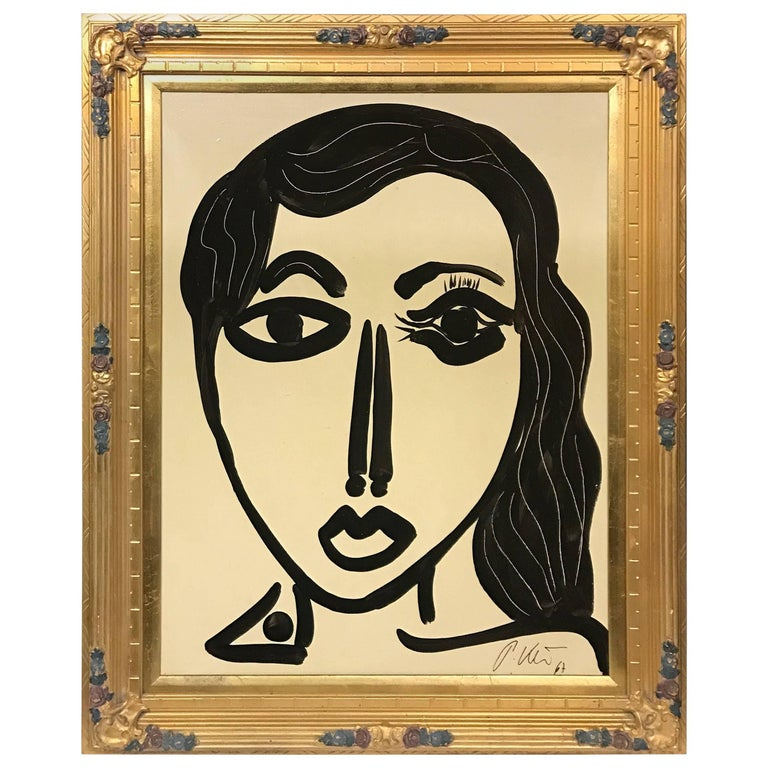 Peter Keil 'Abstract Face' Expressionist Framed Portrait Oil Painting