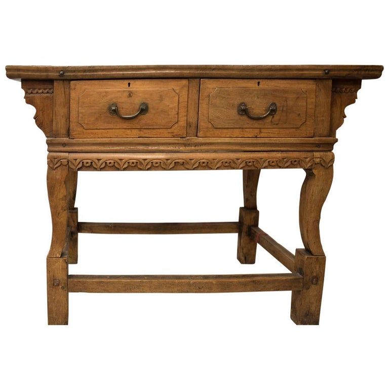 18th Century Carved Elm Chinese Console