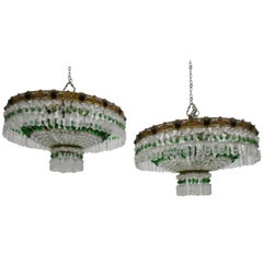 Pair of Ceiling Lights with Crystals, Italy, 1960s