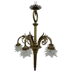 Empire Style Chandelier, Bronze Structure and Glass Diffuser