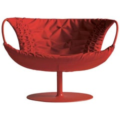 Moroso Smock Armchair with Stitched Leather and Swivel Base by Patricia Urquiola