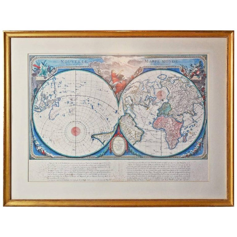 Framed 18th Century Copy of French World Map by Francois Santini