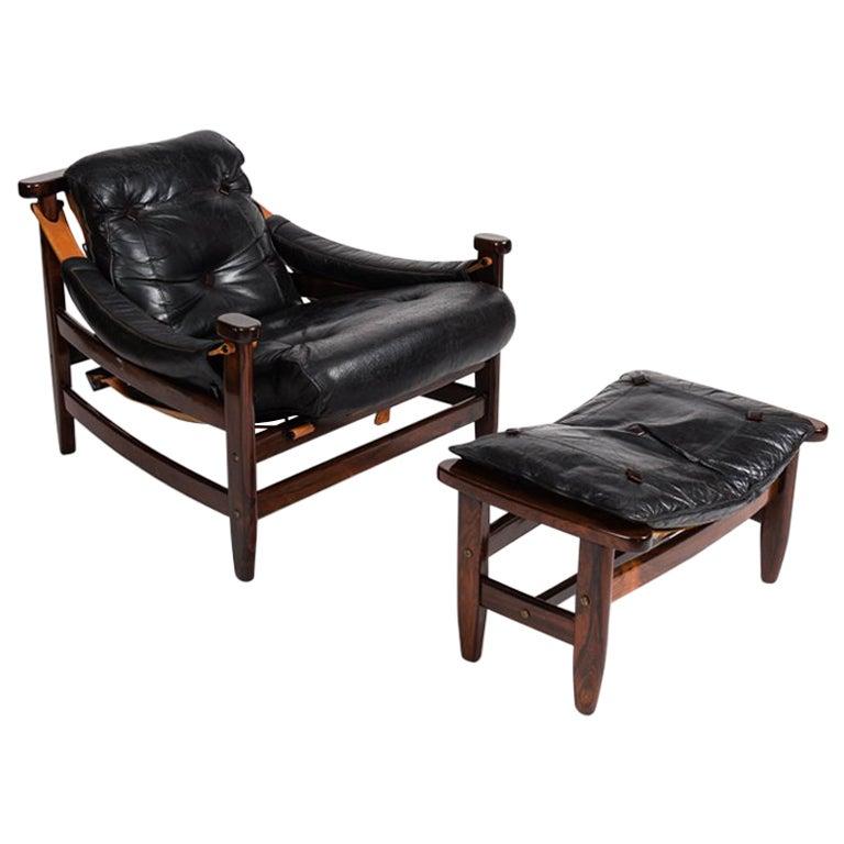 Jean Gillon, Leather Chair and Ottoman, Brazil, circa 1960s