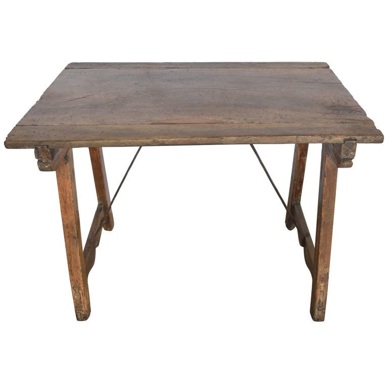 18th Century Walnut Spanish Side Table or Desk with Iron Stretcher