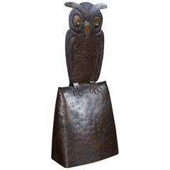 Vintage Arts & Crafts Owl Table Bell or Hotel Bell by Hugo Berger Marked Goberg