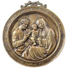 """Sacred Family"", Relief in Bronze, Francesco Marti, 16th Century"