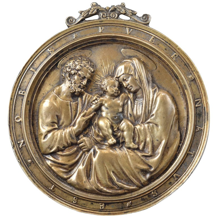 """Sacred Family"", Relief in Bronze, Francesco Marti, 16th Century For Sale"